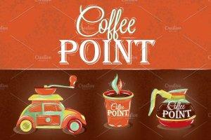 咖啡店复古海报模板 Retro poster coffee point插图1