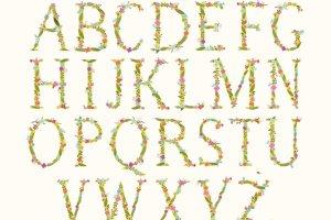 时尚的手绘花卉字母装饰图  Funky floral alphabet插图2