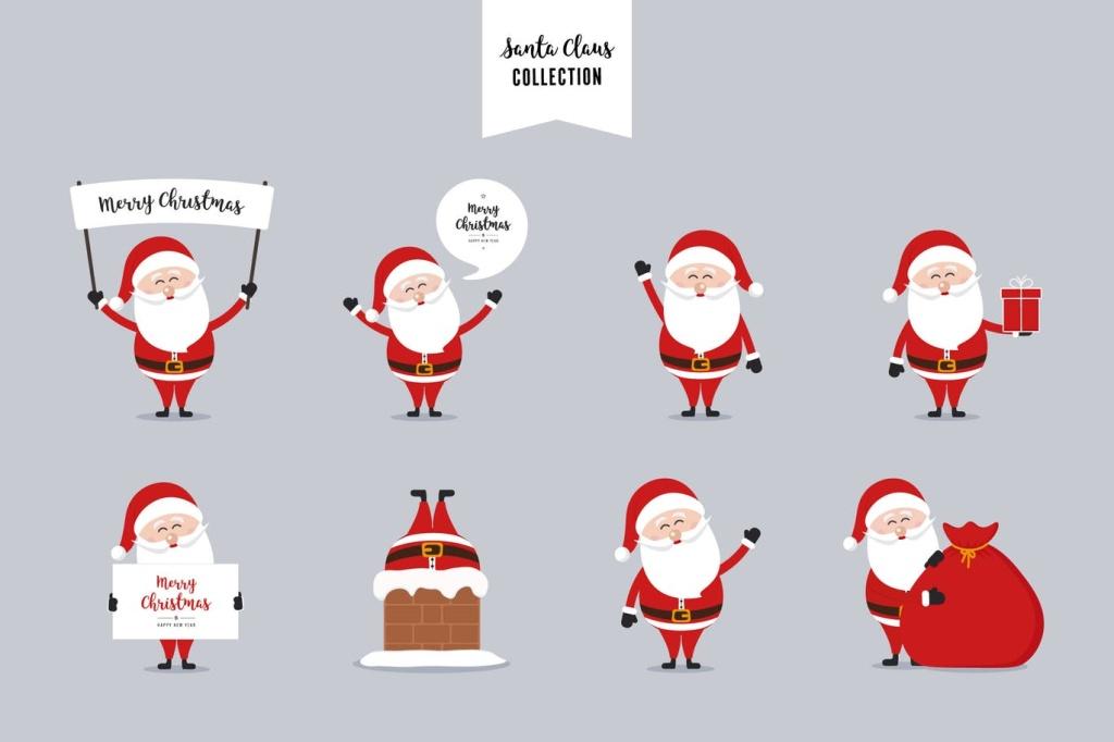 圣诞老人矢量设计素材 Santa Claus Christmas Vector Collection插图