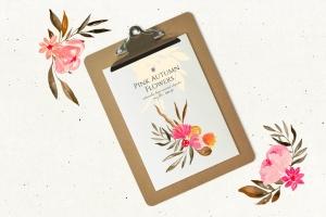 秋天粉色手绘花卉插画PNG素材v2 Pink Autumn Flowers vol.2插图3