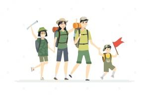 户外远足场景卡通人物矢量图形 Family goes hiking – cartoon people characters插图1