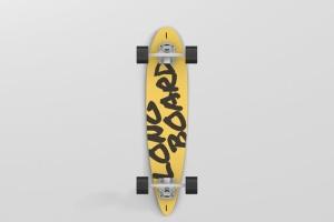长滑板手绘图案设计样机模板 Skateboard Longboard Mockup插图6