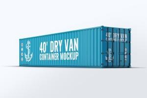 40英尺集装箱外观图案设计样机模板 40ft Dry Van Container Mock-up插图1