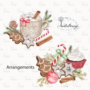 甜蜜圣诞节水彩手绘图案PNG素材 Sweet Christmas design插图2