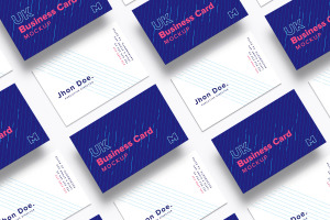 英国标准尺寸企业名片设计样机03 UK Business Cards Mockup 03插图1