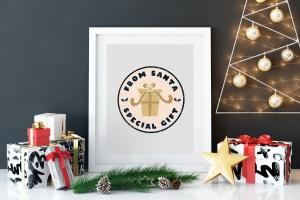 复古风格圣诞节主题T恤印花图案设计素材 Santa T-Shirt. Christmas Vector Print, Holiday SVG插图2
