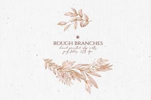 高清手绘橄榄枝叶PNG素材 Rough Branches插图5