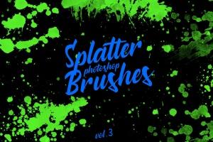 墨水飞溅泼墨图案纹理PS笔刷v3 Splatter Stamp Photoshop Brushes Vol. 3插图1