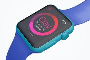 Apple Watch手表表盘UI界面设计效果图样机05 Clay Apple Watch Mockup 05插图6