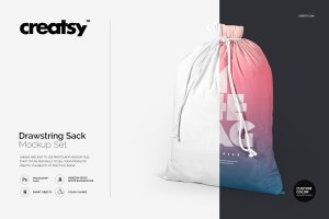 拉绳袋布袋样机模板集合 Drawstring Sack Mockup Set插图1