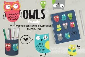 猫头鹰家族水彩手绘图案设计素材 Owls Family插图1