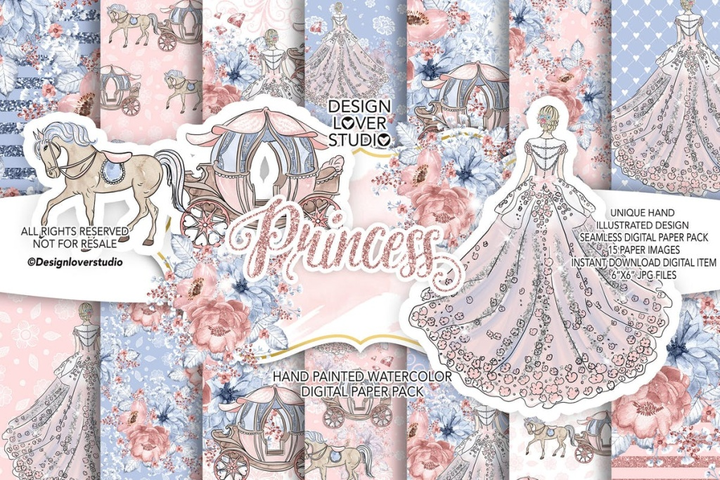 公主水彩花卉图案/剪贴画设计套装 Princess digital paper pack插图