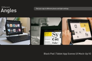 iPad平板电脑演示APP设计样机模板 Black iPad | Tablet App Scenes UI Mock-Up插图6