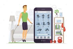 家庭健身卡通人物矢量插画 Home fitness – cartoon character illustration插图(1)