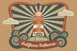 半色调点状/线条AI笔刷 Halftone Brushes + Bonus Patterns插图2