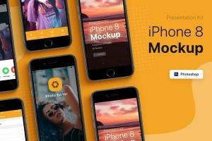 APP界面设计截图预览iPhone 8手机样机模板v2 Presentation Kit – iPhone showcase Mockup插图1