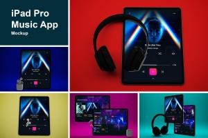 音乐APP界面设计效果图iPad Pro平板电脑样机模板 iPad Pro Music App插图1