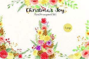 圣诞主题水彩插花套装 Christmas Floral Arrangement插图3