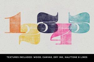 木版印刷图层样式设计工具包 WoodBlock Printing Press Kit插图3