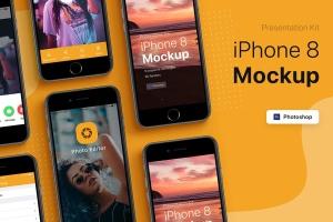 APP界面设计截图预览iPhone 8手机样机模板v2 Presentation Kit – iPhone showcase Mockup插图4