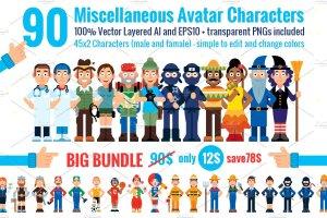 90种不同类型的卡通人物形象图标 90 Miscellaneous Avatar Characters插图1