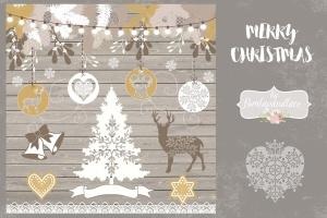 圣诞节主题矢量手绘设计素材 Merry Christmas design插图2