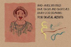 经典彩色黑板画粉笔AI笔刷 Megapack of chalks by Guerillacraft插图3