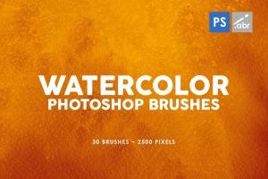 30款水彩绘画手工制作纹理肌理PS笔刷v1 30 Watercolor Texture Photoshop Brushes Vol. 1插图1