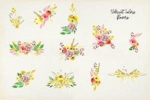 手工制作的水彩花朵花卉  Vibrant Colors Flowers插图5