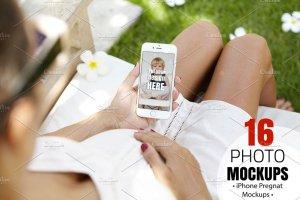 生育育儿主题孕妇手持iPhone样机模板 iPhone Pregnat Mockups插图1