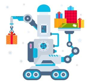 圣诞节礼物矢量插画设计素材 Set of Christmas illustrations with machines插图2