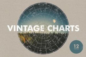 12款复古星座图航海图矢量素材 Vintage Charts插图1