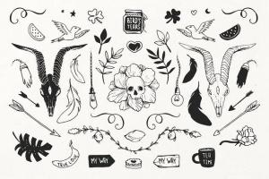 手绘装饰设计元素工具包[手绘图案+水彩样式+图形] The Hip Decorative Toolkit插图2