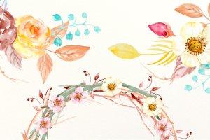 秋季氛围水彩插花花环装饰素材 Watercolor Fall Floral Arrangements插图2