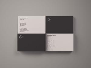 名片设计俯视图样机模板 Business Cards Mockup Top View插图1