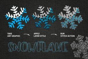 裁缝缝线效果PS笔刷 STITCH Effect Photoshop Tooklit插图3