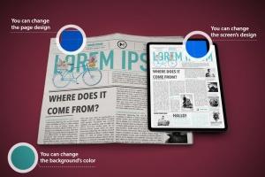 电子版报纸版式设计效果图样机 Newspaper App MockUp插图8