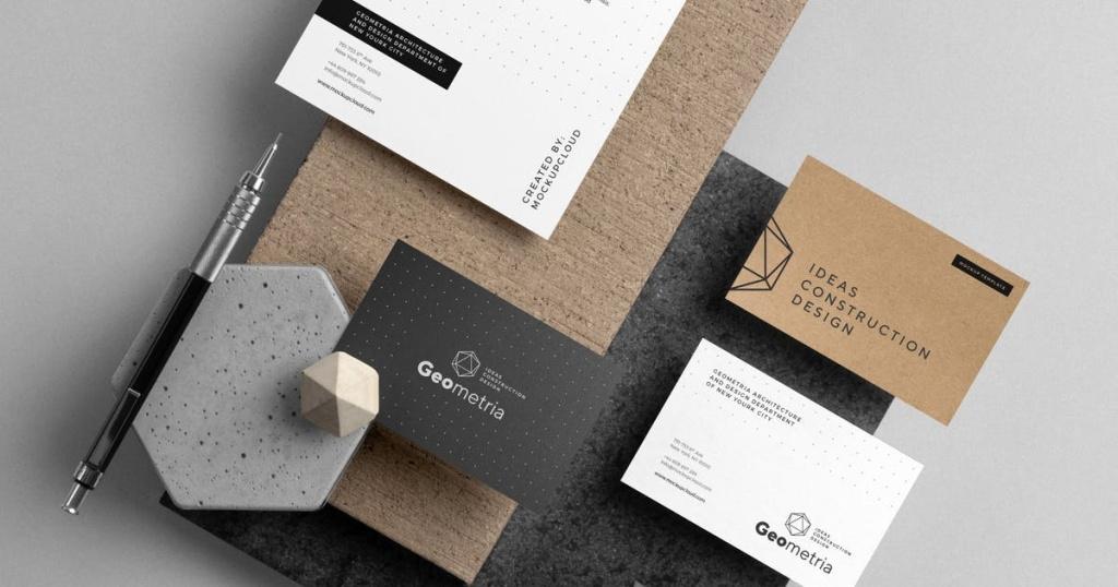 企业品牌VI设计办公文具立体悬浮俯视图样机PSD模板插图