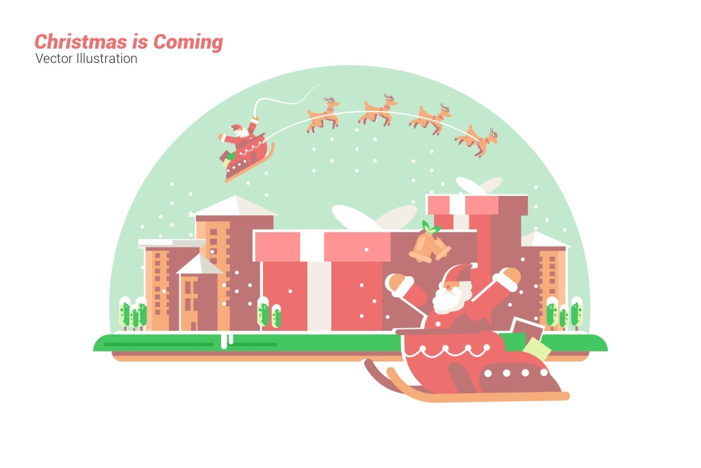 喜迎圣诞节到来矢量手绘插画素材 Christmas is Coming – Vector Illustration插图