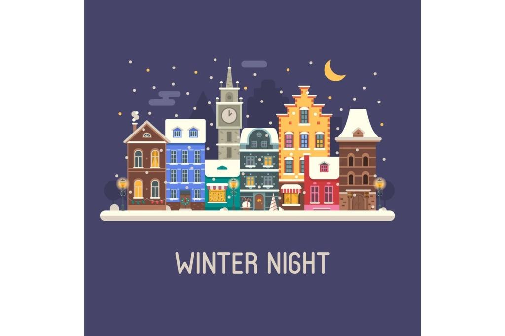 欧洲城镇圣诞节夜景场景插画 Europe Christmas Street插图