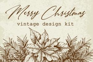 圣诞主题复古设计风格素材包[元素/背景/无缝纹理] Merry Christmas Vintage Design Kit插图1
