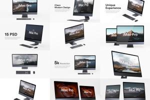 5K高分辨率iMac Pro一体机多角度样机模板 iMac Pro Kit插图1