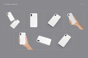 逼真的iPhone X塑料材质手机壳样机展示模型mockups插图3