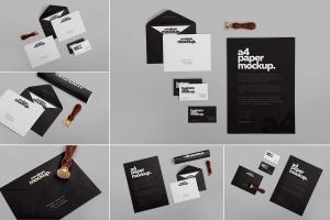 高级企业办公文具套装设计样机 6 Stationery Design Mockups插图1