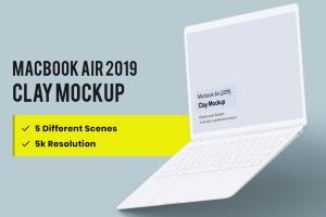 2019款MacBook Air超极本屏幕预览样机模板 Clay Macbook Air Mockup 1.0插图1