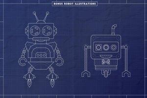 工业蓝图设计图风格设计AI模板工具包 The Complete Vector Blueprint Kit插图5