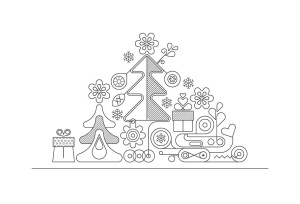 霓虹灯圣诞树线条艺术矢量插画素材 Christmas Tree Neon Design + 2 line art options插图2