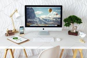 苹果一体机桌面显示样机模板 iMac Mockup (7 PSD) + Bonus插图3