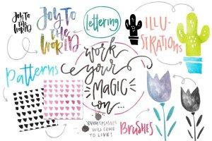 水彩纹理&图层样式设计套装 Watercolor Magic – design kit插图6