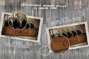 复古邮票印章效果图层样式PSD分层模板 Old Stamping Ground – Smart PSD插图2